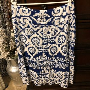 Blue & White Tiered Midi Skirt